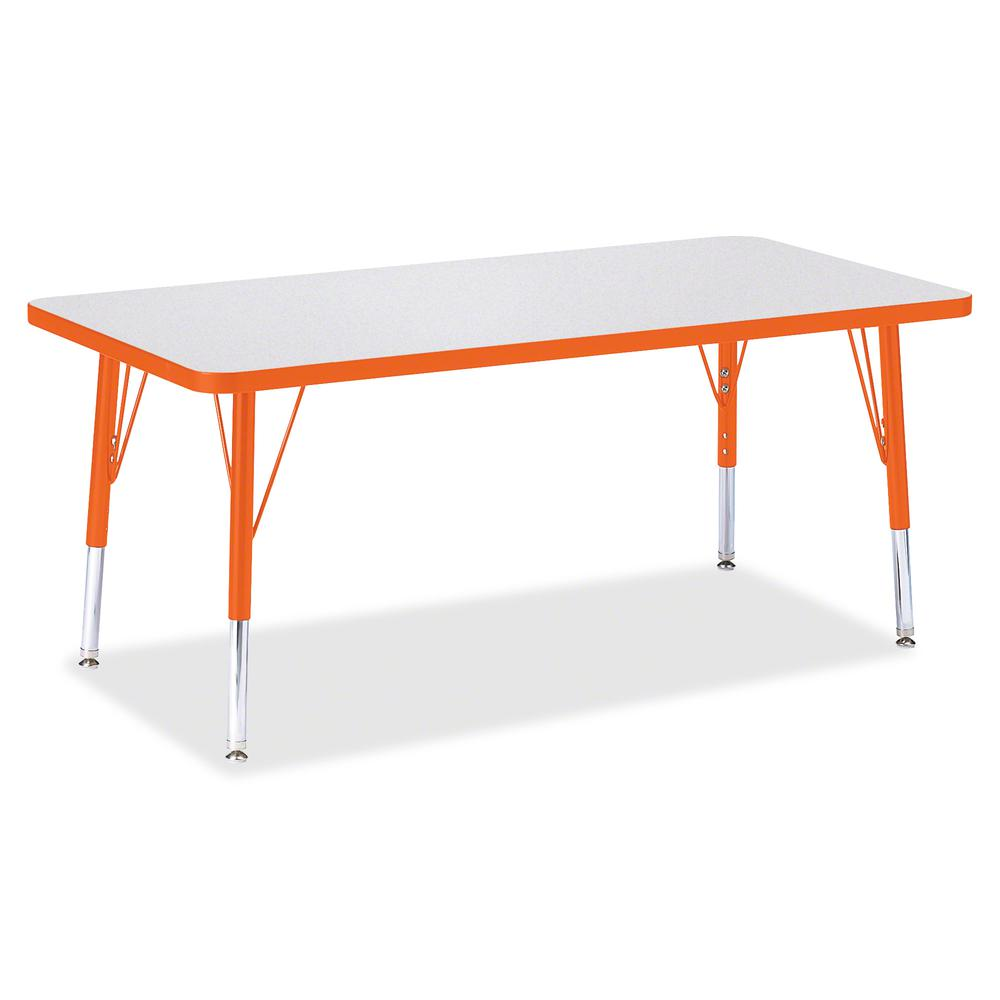 "Berries Toddler Height Prism Edge Rectangle Table - Laminated Rectangle, Orange Top - Four Leg Base - 4 Legs - 48"" Table Top Length x 24"" Table Top Width x 1.13"" Table Top Thickness - 15"" Height - Ass. Picture 2"