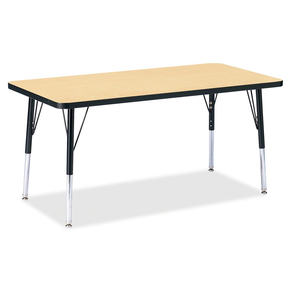 "Berries Elementary Height Color Top Rectangle Table - Laminated Rectangle, Maple Top - Four Leg Base - 4 Legs - 48"" Table Top Length x 24"" Table Top Width x 1.13"" Table Top Thickness - 24"" Height - As. Picture 2"