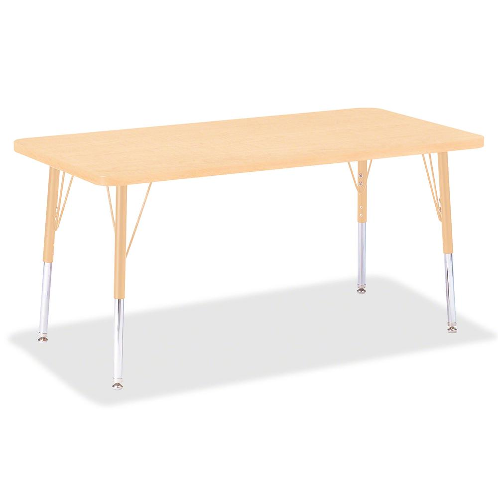 "Berries Elementary Maple Laminate Rectangle Table - Laminated Rectangle, Maple Top - Four Leg Base - 4 Legs - 48"" Table Top Length x 24"" Table Top Width x 1.13"" Table Top Thickness - 24"" Height - Asse. Picture 2"