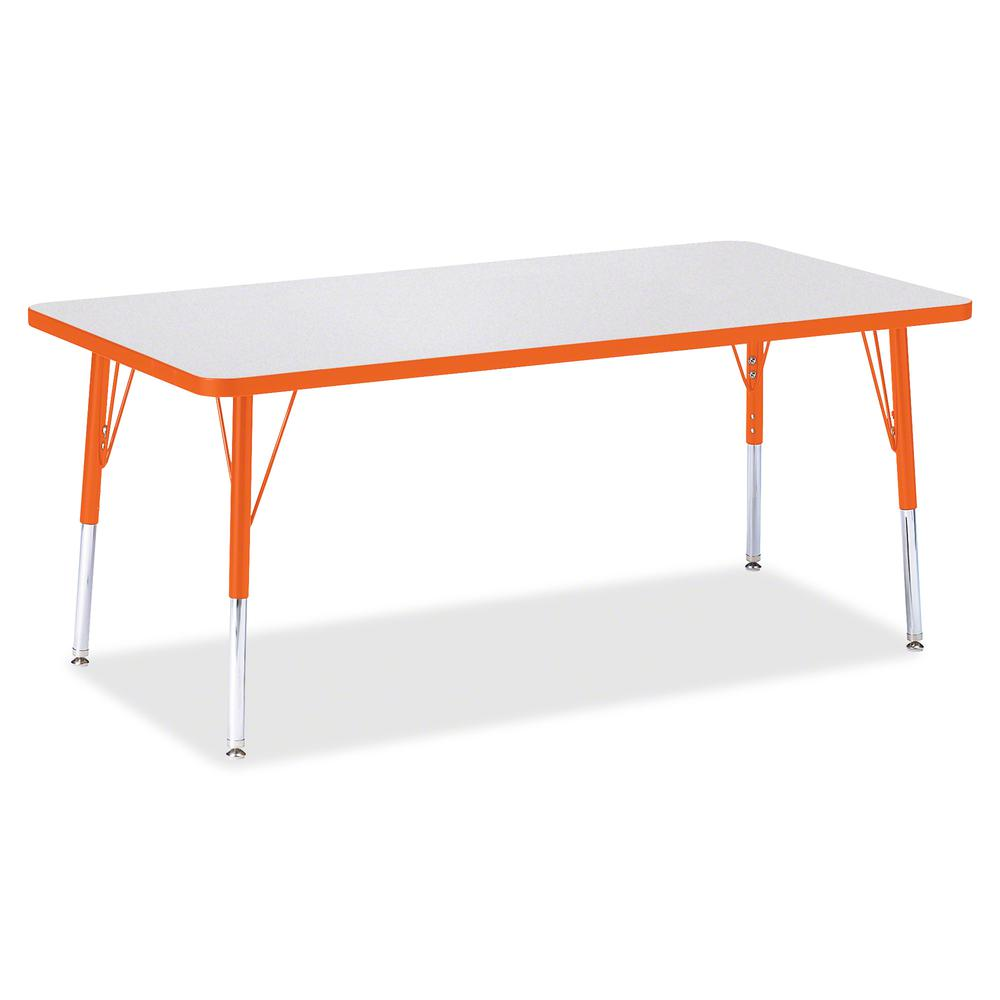 "Berries Elementary Height Color Edge Rectangle Table - Laminated Rectangle, Orange Top - Four Leg Base - 4 Legs - 60"" Table Top Length x 30"" Table Top Width x 1.13"" Table Top Thickness - 24"" Height - . Picture 3"