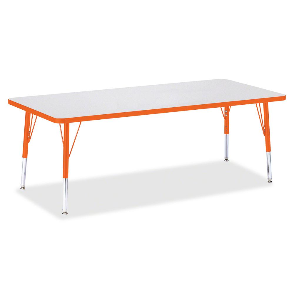 "Berries Toddler Height Prism Edge Rectangle Table - Laminated Rectangle, Orange Top - Four Leg Base - 4 Legs - 72"" Table Top Length x 30"" Table Top Width x 1.13"" Table Top Thickness - 15"" Height - Ass. Picture 2"