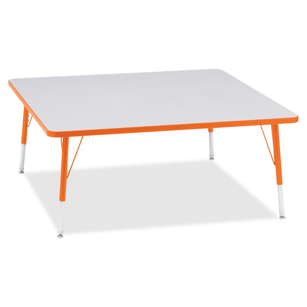 """Berries Elementary Height Color Edge Square Table - Laminated Square, Orange Top - Four Leg Base - 4 Legs - 48"""" Table Top Length x 48"""" Table Top Width x 1.13"""" Table Top Thickness - 24"""" Height - Assemb. Picture 3"""