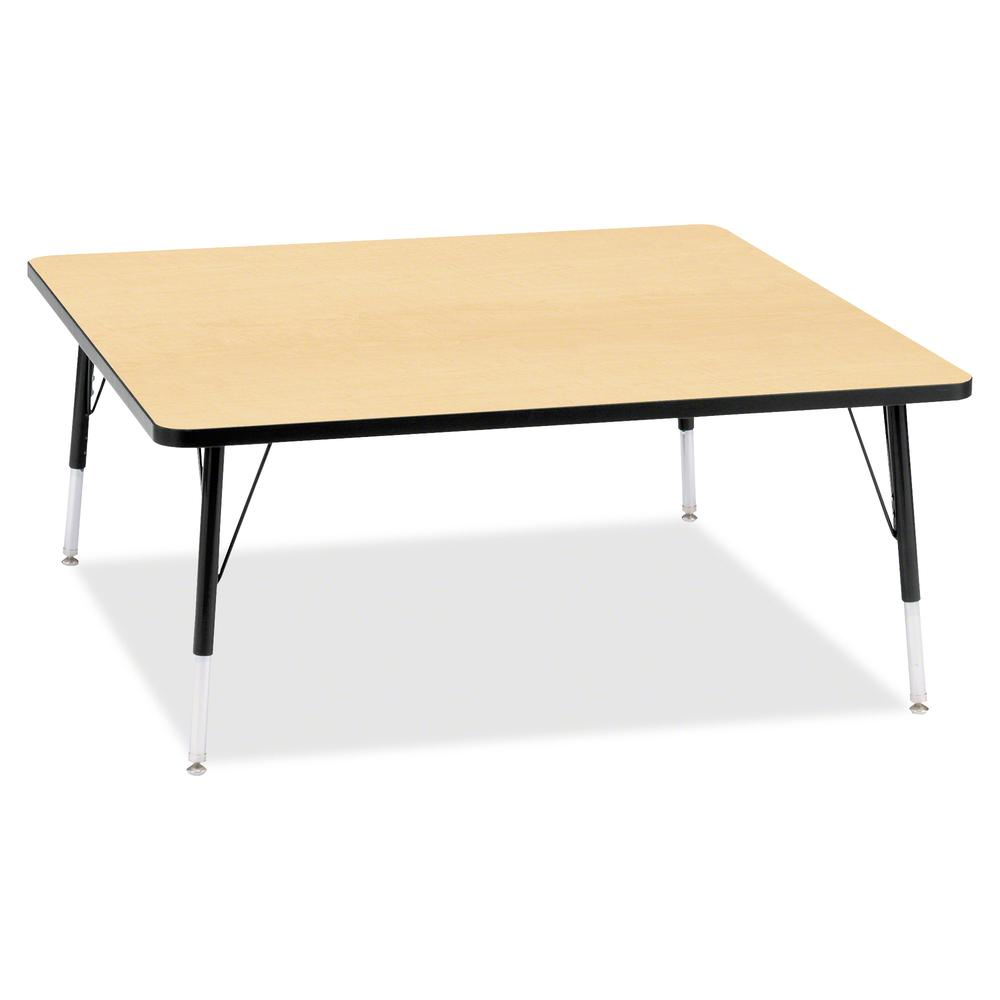 "Berries Elementary Height Color Top Square Table - Laminated Square, Maple Top - Four Leg Base - 4 Legs - 48"" Table Top Length x 48"" Table Top Width x 1.13"" Table Top Thickness - 24"" Height - Assembly. Picture 2"