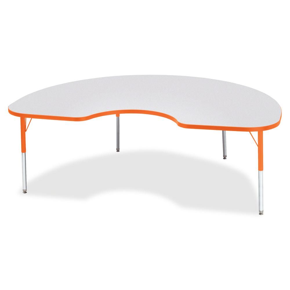 """Berries Elementary Height Color Edge Kidney Table - Laminated Kidney-shaped, Orange Top - Four Leg Base - 4 Legs - 72"""" Table Top Length x 48"""" Table Top Width x 1.13"""" Table Top Thickness - 24"""" Height -. Picture 3"""
