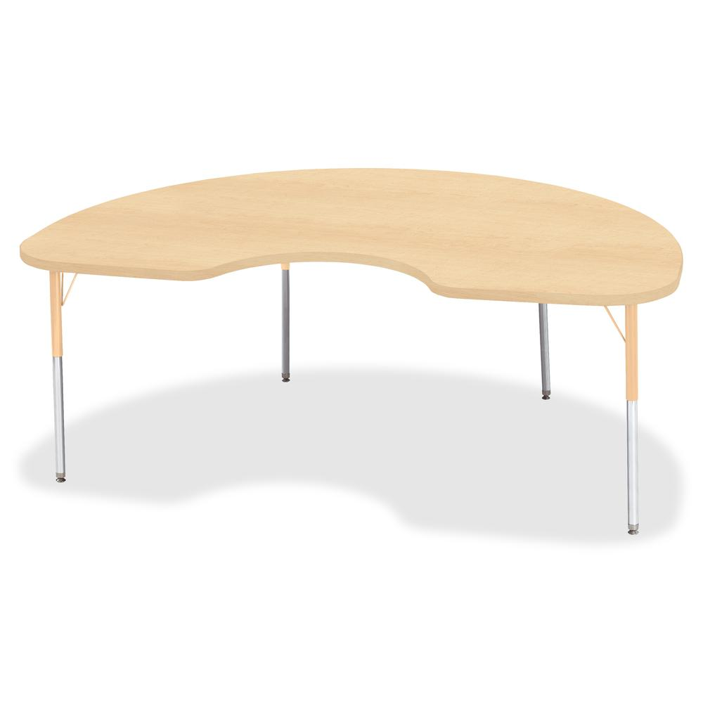 "Berries Adult Height Maple Top/Edge Kidney Table - Laminated Kidney-shaped, Maple Top - Four Leg Base - 4 Legs - 72"" Table Top Length x 48"" Table Top Width x 1.13"" Table Top Thickness - 31"" Height - A. Picture 2"