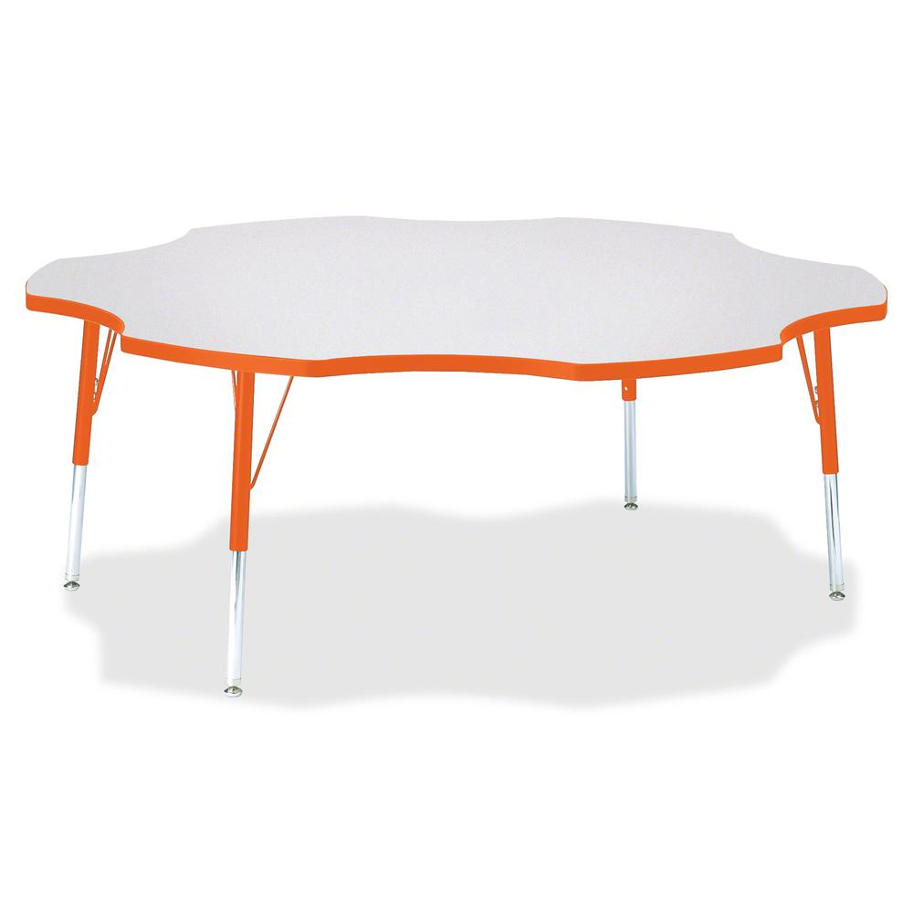 """Jonti-Craft Berries Elementary Height Prism Six-Leaf Table - Laminated, Orange Top - Four Leg Base - 4 Legs - 1.13"""" Table Top Thickness x 60"""" Table Top Diameter - 24"""" Height - Assembly Required - Powd. Picture 2"""