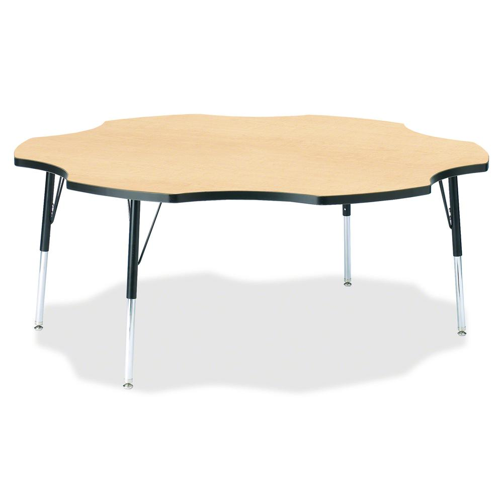"""Jonti-Craft Berries Toddler Black Edge Six-leaf Table - Laminated, Maple Top - Four Leg Base - 4 Legs - 1.13"""" Table Top Thickness x 60"""" Table Top Diameter - 15"""" Height - Assembly Required - Powder Coa. Picture 2"""