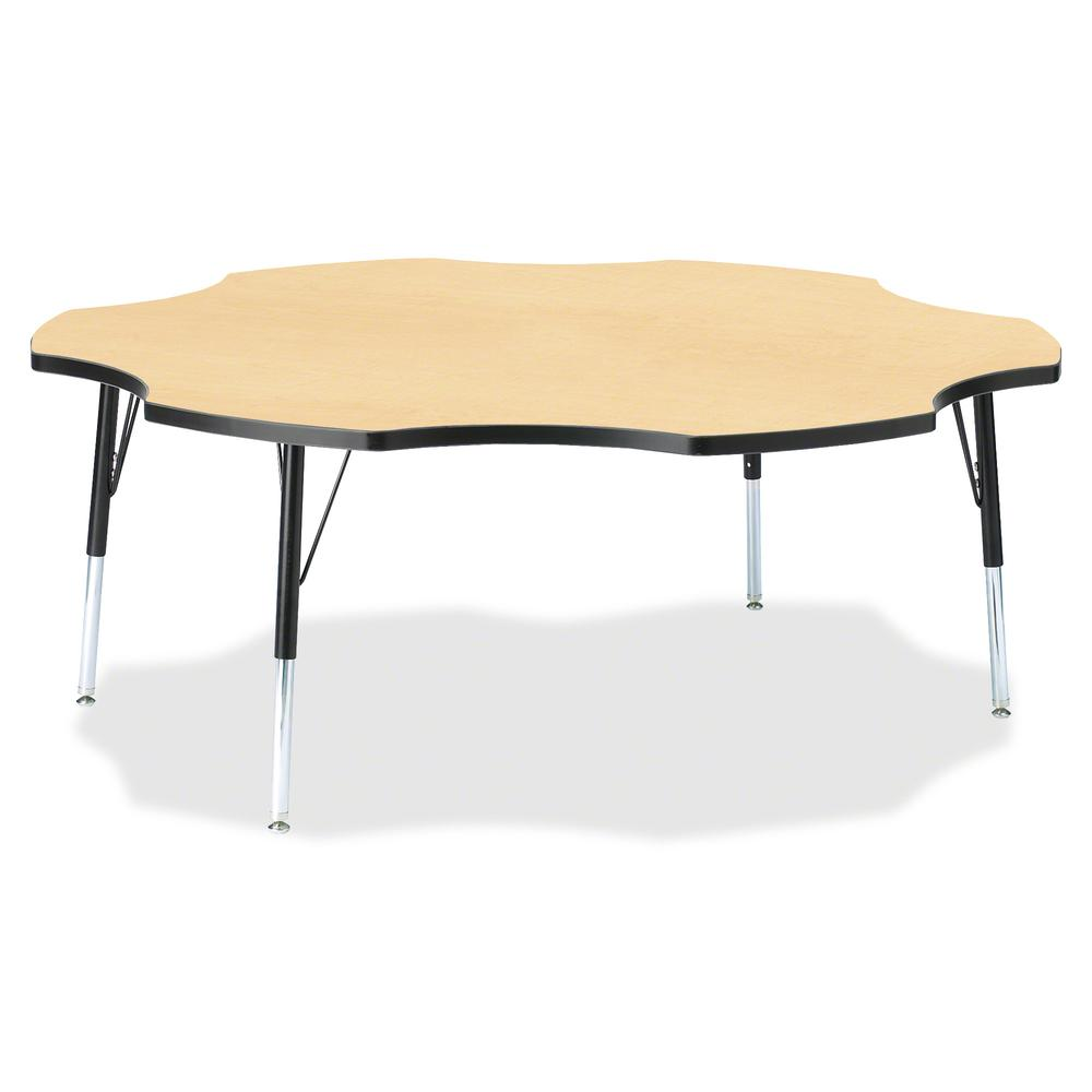 "Jonti-Craft Berries Elementary Black Edge Six-leaf Table - Laminated, Maple Top - Four Leg Base - 4 Legs - 1.13"" Table Top Thickness x 60"" Table Top Diameter - 24"" Height - Assembly Required - Powder . Picture 2"