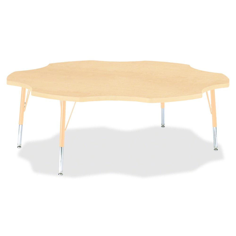 "Berries Toddler Maple Laminate Six-leaf Table - Laminated, Maple Top - Four Leg Base - 4 Legs - 1.13"" Table Top Thickness x 60"" Table Top Diameter - 15"" Height - Assembly Required - Powder Coated - St. Picture 2"