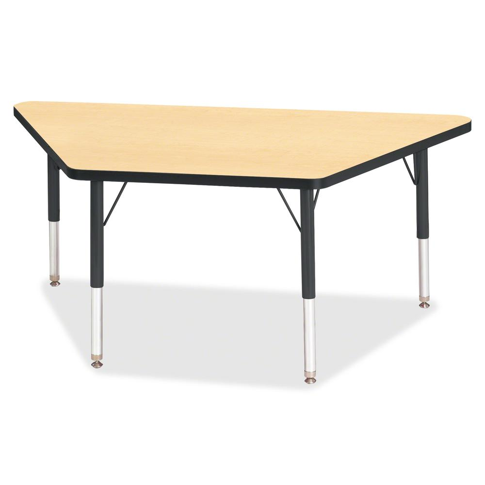 """Berries Black Edge Toddler Height Trapezoid Table - Laminated Trapezoid, Maple Top - Four Leg Base - 4 Legs - 48"""" Table Top Length x 24"""" Table Top Width x 1.13"""" Table Top Thickness - 15"""" Height - Asse. Picture 2"""