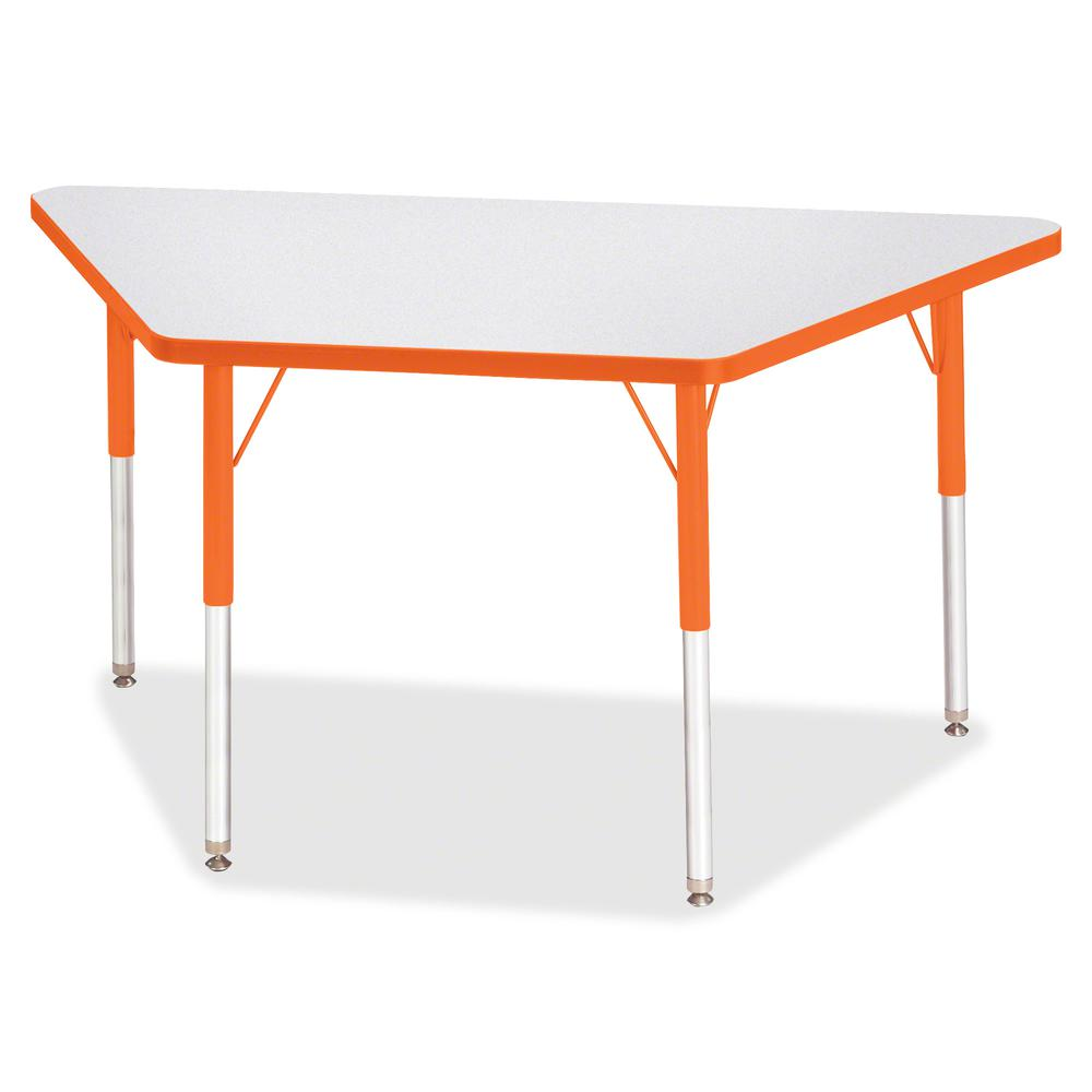 """Berries Adult-Size Gray Laminate Trapezoid Table - Laminated Trapezoid, Orange Top - Four Leg Base - 4 Legs - 48"""" Table Top Length x 24"""" Table Top Width x 1.13"""" Table Top Thickness - 31"""" Height - Asse. Picture 2"""
