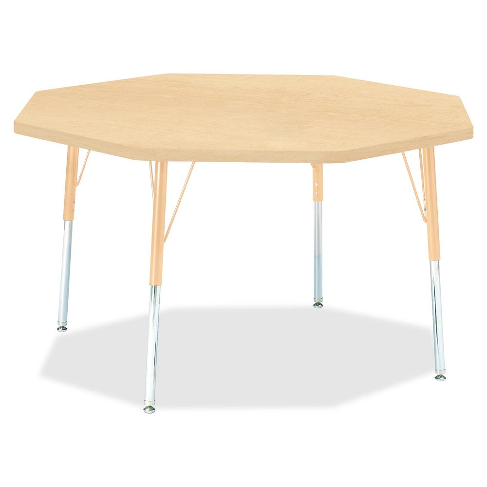 "Berries Adult Height Maple Top/Edge Octagon Table - Laminated Octagonal, Maple Top - Four Leg Base - 4 Legs - 1.13"" Table Top Thickness x 48"" Table Top Diameter - 31"" Height - Assembly Required - Powd. Picture 2"