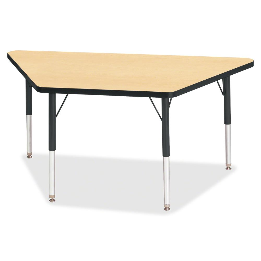 """Berries Elementary Height Classic Trapezoid Table - Laminated Trapezoid, Maple Top - Four Leg Base - 4 Legs - 48"""" Table Top Length x 24"""" Table Top Width x 1.13"""" Table Top Thickness - 24"""" Height - Asse. Picture 2"""