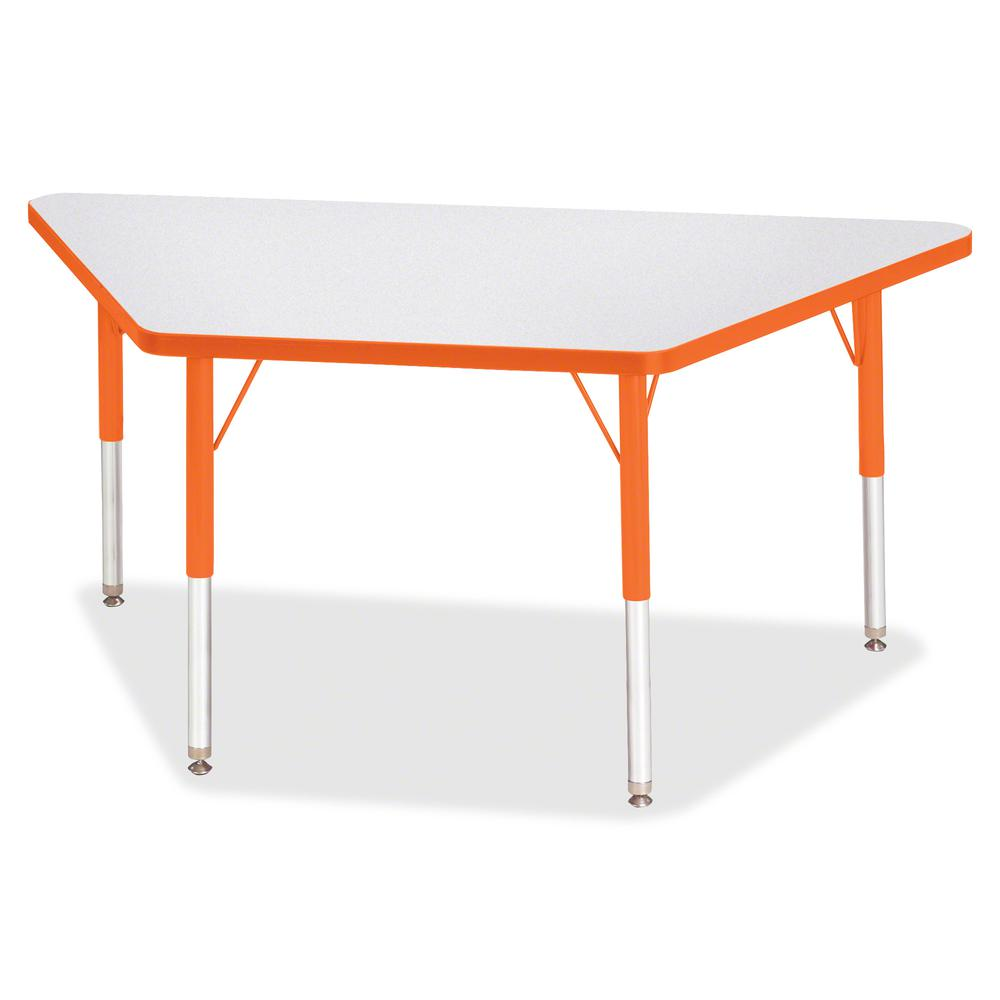 "Berries Elementary Height Prism Edge Trapezoid Table - Laminated Trapezoid, Orange Top - Four Leg Base - 4 Legs - 48"" Table Top Length x 24"" Table Top Width x 1.13"" Table Top Thickness - 24"" Height - . Picture 2"