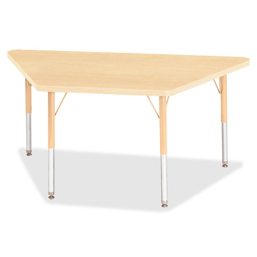 """Jonti-Craft Berries Maple Top Elementary Height Trapezoid Table - Laminated Trapezoid, Maple Top - Four Leg Base - 4 Legs - 48"""" Table Top Length x 24"""" Table Top Width x 1.13"""" Table Top Thickness - 24"""". Picture 2"""