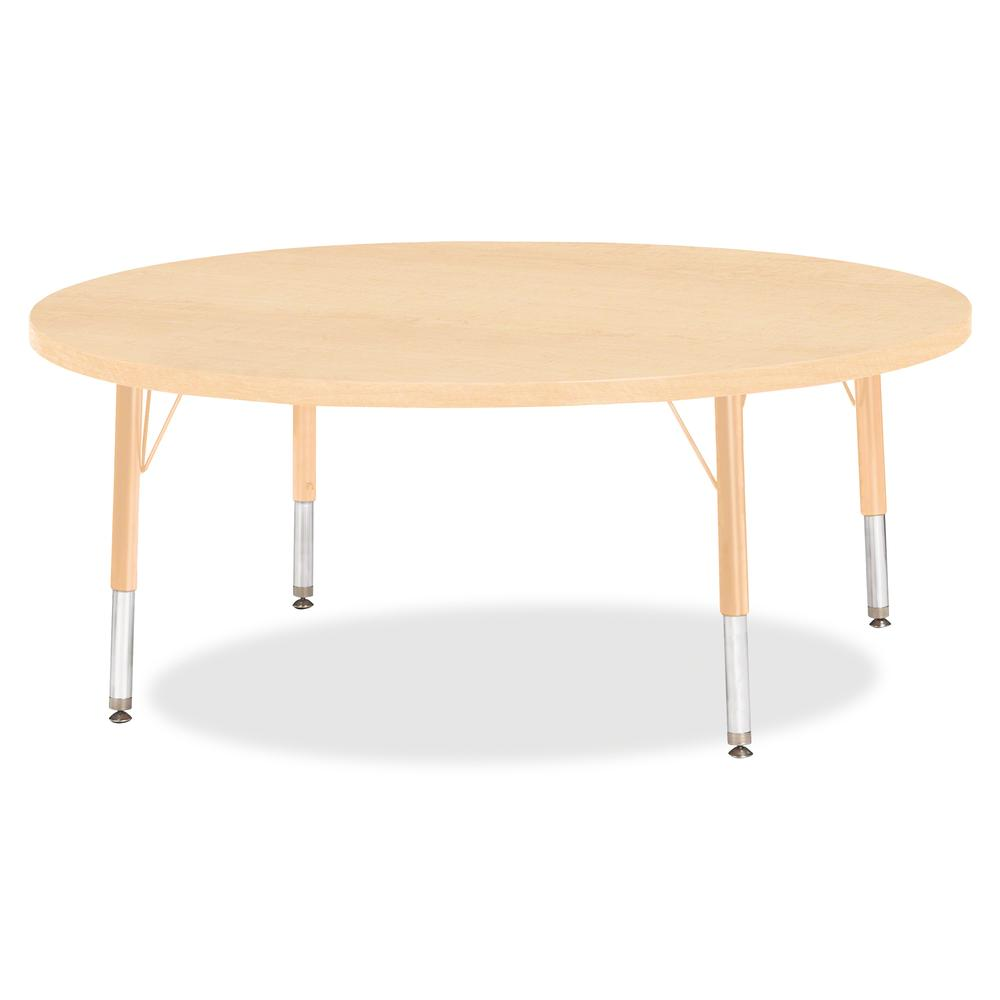 """Berries Toddler Height Maple Top/Edge Round Table - Laminated Round, Maple Top - Four Leg Base - 4 Legs - 1.13"""" Table Top Thickness x 48"""" Table Top Diameter - 15"""" Height - Assembly Required - Powder C. Picture 2"""