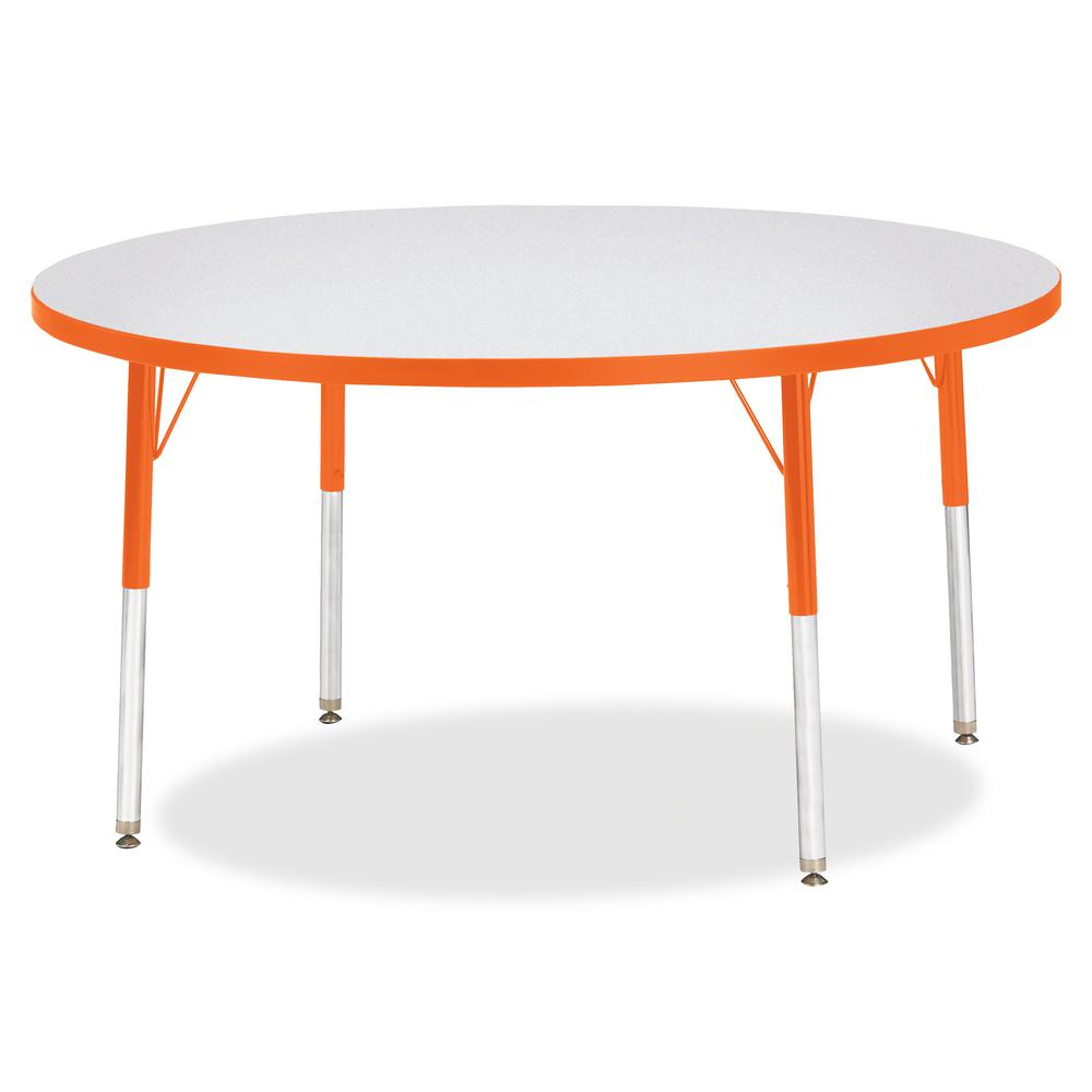 "Berries Adult Height Color Edge Round Table - Laminated Round, Orange Top - Four Leg Base - 4 Legs - 1.13"" Table Top Thickness x 48"" Table Top Diameter - 31"" Height - Assembly Required - Powder Coated. Picture 2"