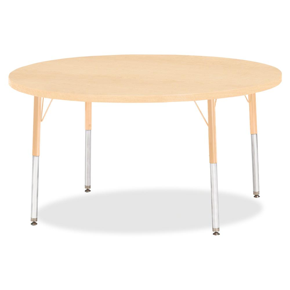 "Berries Adult Height Maple Top/Edge Round Table - Laminated Round, Maple Top - Four Leg Base - 4 Legs - 1.13"" Table Top Thickness x 48"" Table Top Diameter - 31"" Height - Assembly Required - Powder Coa. Picture 2"