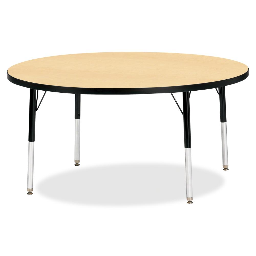 """Berries Elementary Height Color Top Round Table - Laminated Round, Maple Top - Four Leg Base - 4 Legs - 1.13"""" Table Top Thickness x 48"""" Table Top Diameter - 24"""" Height - Assembly Required - Powder Coa. Picture 2"""
