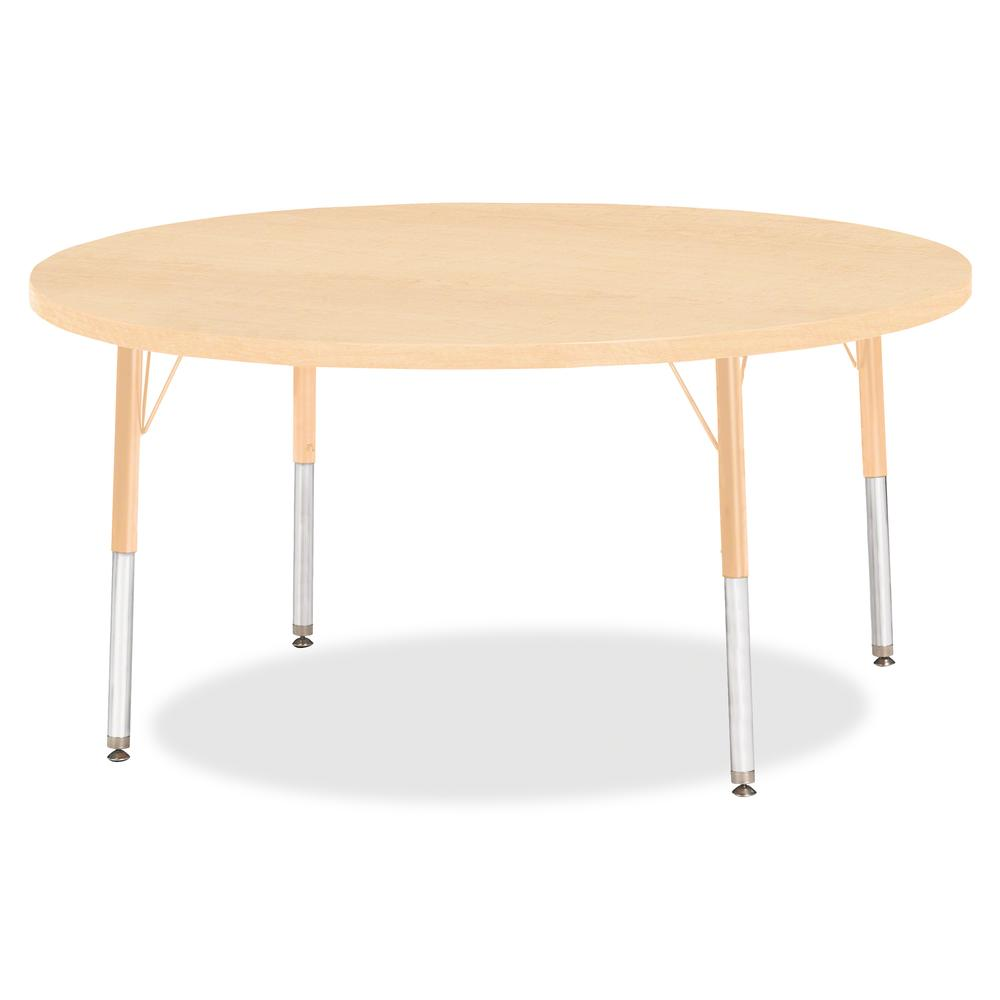"""Berries Elementary Height Maple Top/Edge Round Table - Laminated Round, Maple Top - Four Leg Base - 4 Legs - 1.13"""" Table Top Thickness x 48"""" Table Top Diameter - 24"""" Height - Assembly Required - Powde. Picture 2"""