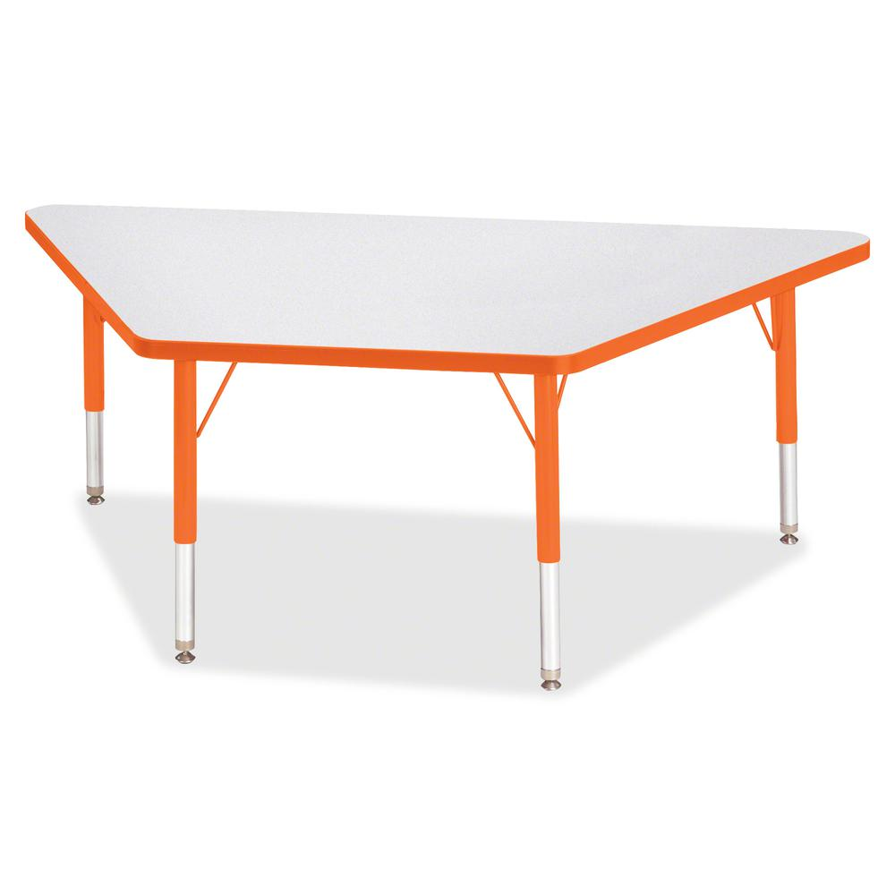 "Jonti-Craft Berries Toddler Size Gray Top Trapezoid Table - Laminated Trapezoid, Orange Top - Four Leg Base - 4 Legs - 60"" Table Top Length x 30"" Table Top Width x 1.13"" Table Top Thickness - 15"" Heig. Picture 3"