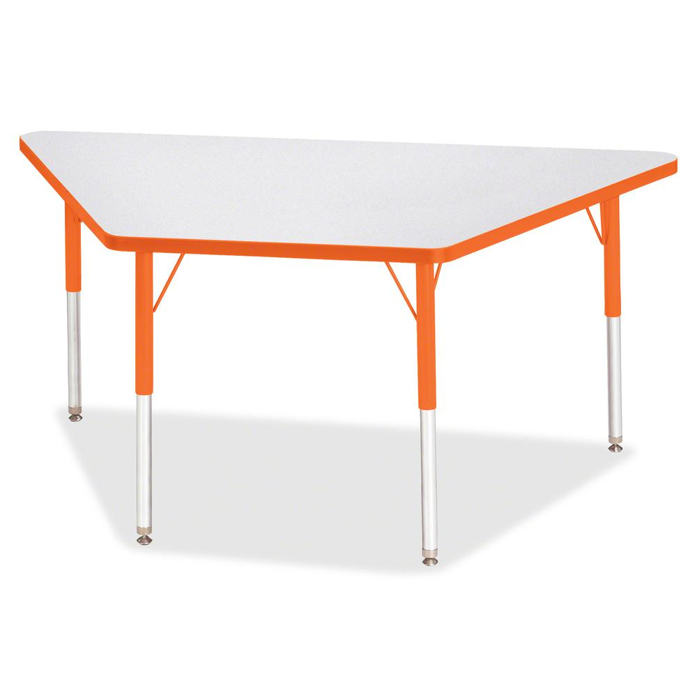 "Berries Adult-Size Gray Laminate Trapezoid Table - Laminated Trapezoid, Orange Top - Four Leg Base - 4 Legs - 60"" Table Top Length x 30"" Table Top Width x 1.13"" Table Top Thickness - 31"" Height - Asse. Picture 2"