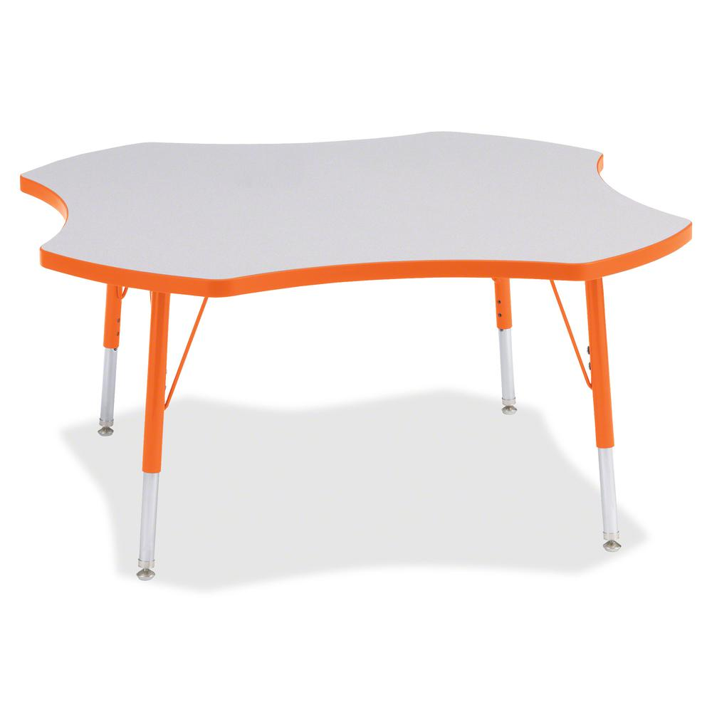 "Jonti-Craft Berries Elementary Height Prism Four-Leaf Table - Laminated, Orange Top - Four Leg Base - 4 Legs - 1.13"" Table Top Thickness x 48"" Table Top Diameter - 24"" Height - Assembly Required - Pow. Picture 2"