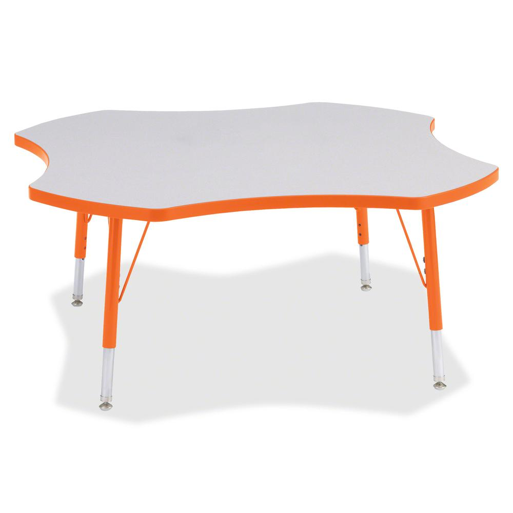 "Berries Prism Four-Leaf Student Table - Laminated, Orange Top - Four Leg Base - 4 Legs - 1.13"" Table Top Thickness x 48"" Table Top Diameter - 15"" Height - Assembly Required - Powder Coated - Steel. Picture 3"