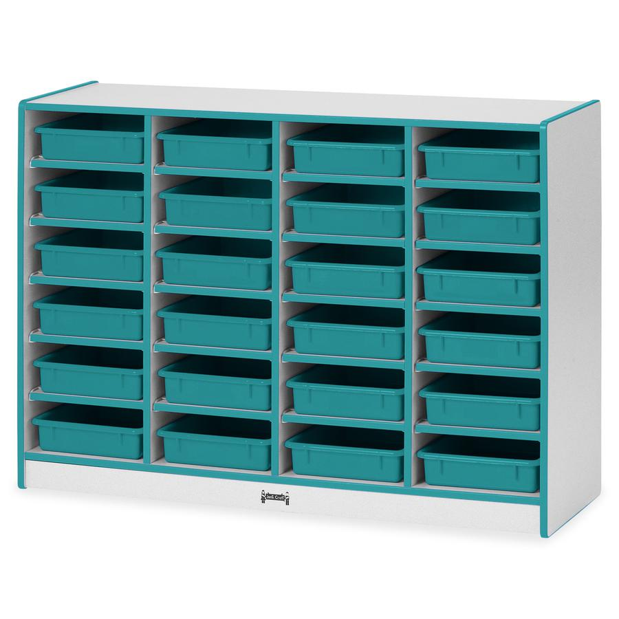 "Rainbow Accents Rainbow Mobile Paper-Tray Storage - 24 Compartment(s) - 35.5"" Height x 48"" Width x 15"" Depth - Floor - Teal - Hard Rubber - 1Each. Picture 2"