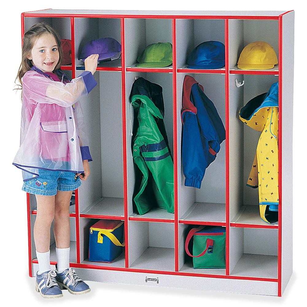 "Rainbow Accents 5-section Coat Locker - 5 Compartment(s) - 50.5"" Height x 48"" Width x 15"" Depth - Red - 1Each. Picture 3"