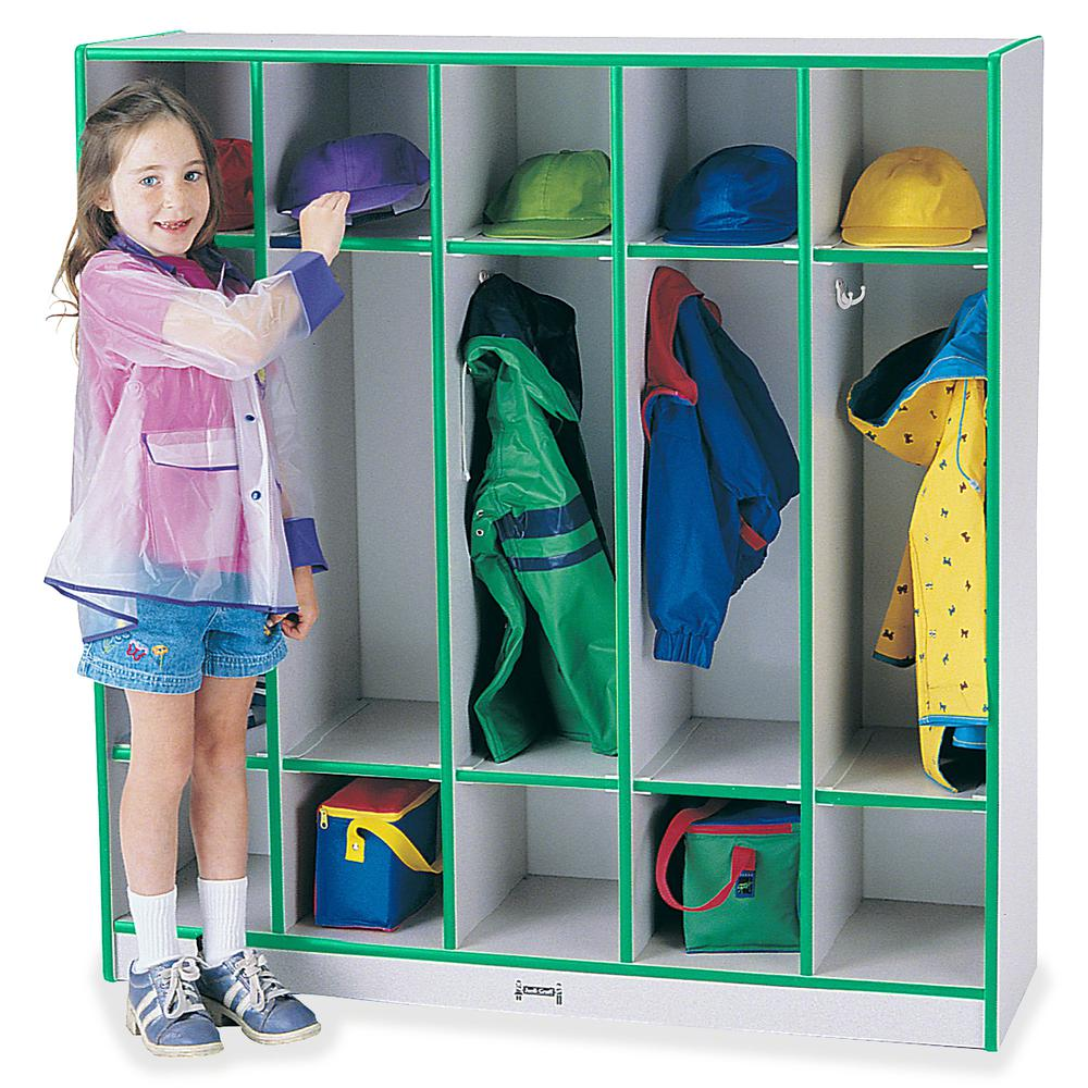 """Rainbow Accents 5-section Coat Locker - 5 Compartment(s) - 50.5"""" Height x 48"""" Width x 15"""" Depth - Green - 1Each. Picture 2"""