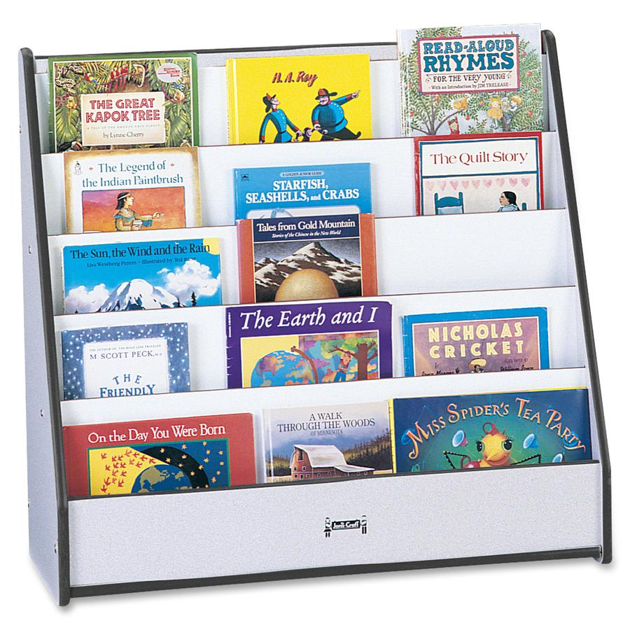 """Rainbow Accents Laminate 5-shelf Pick-a-Book Stand - 5 Compartment(s) - 1"""" - 27.5"""" Height x 30"""" Width x 13.5"""" Depth - Black - 1Each. Picture 2"""