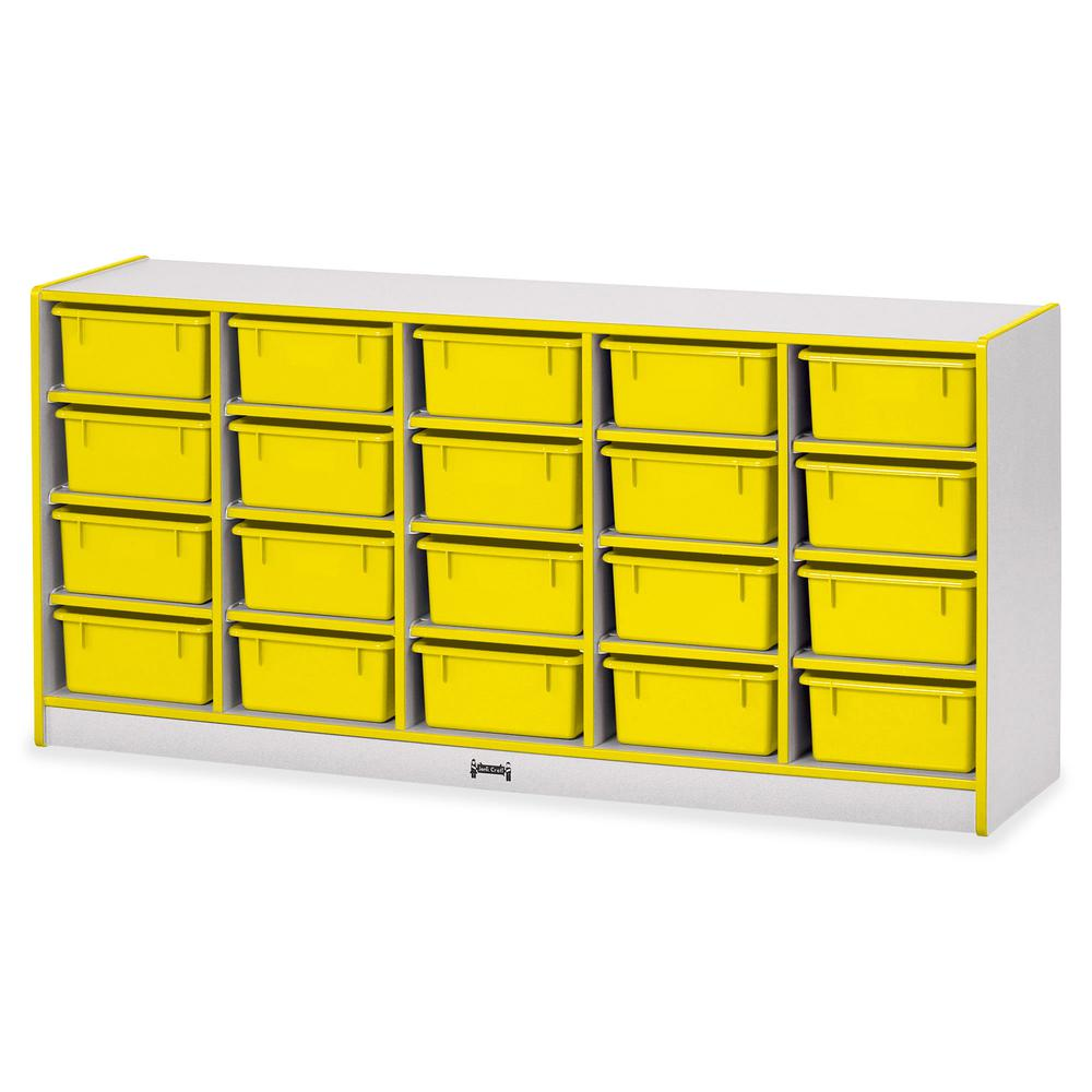 """Rainbow Accents Cubbie Mobile Storage - 20 Compartment(s) - 29.5"""" Height x 24.5"""" Width x 15"""" Depth - Floor - Yellow - Hard Rubber - 1Each. Picture 2"""