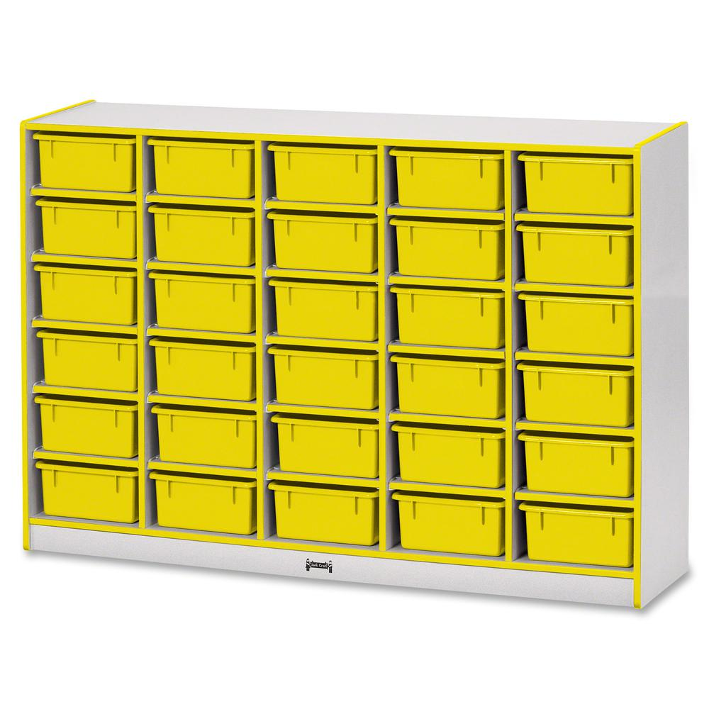 """Jonti-Craft Rainbow Accents Mobile Tub Bin Storage - 30 Compartment(s) - 42"""" Height x 60"""" Width x 15"""" Depth - Floor - Yellow - Hard Rubber - 1Each. Picture 4"""