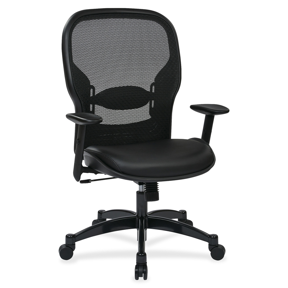 """Office Star Professional Managers Chair - Leather Seat - 5-star Base - Black - 20"""" Seat Width x 19.50"""" Seat Depth - 27.3"""" Width x 25.8"""" Depth x 46.3"""" Height. Picture 6"""
