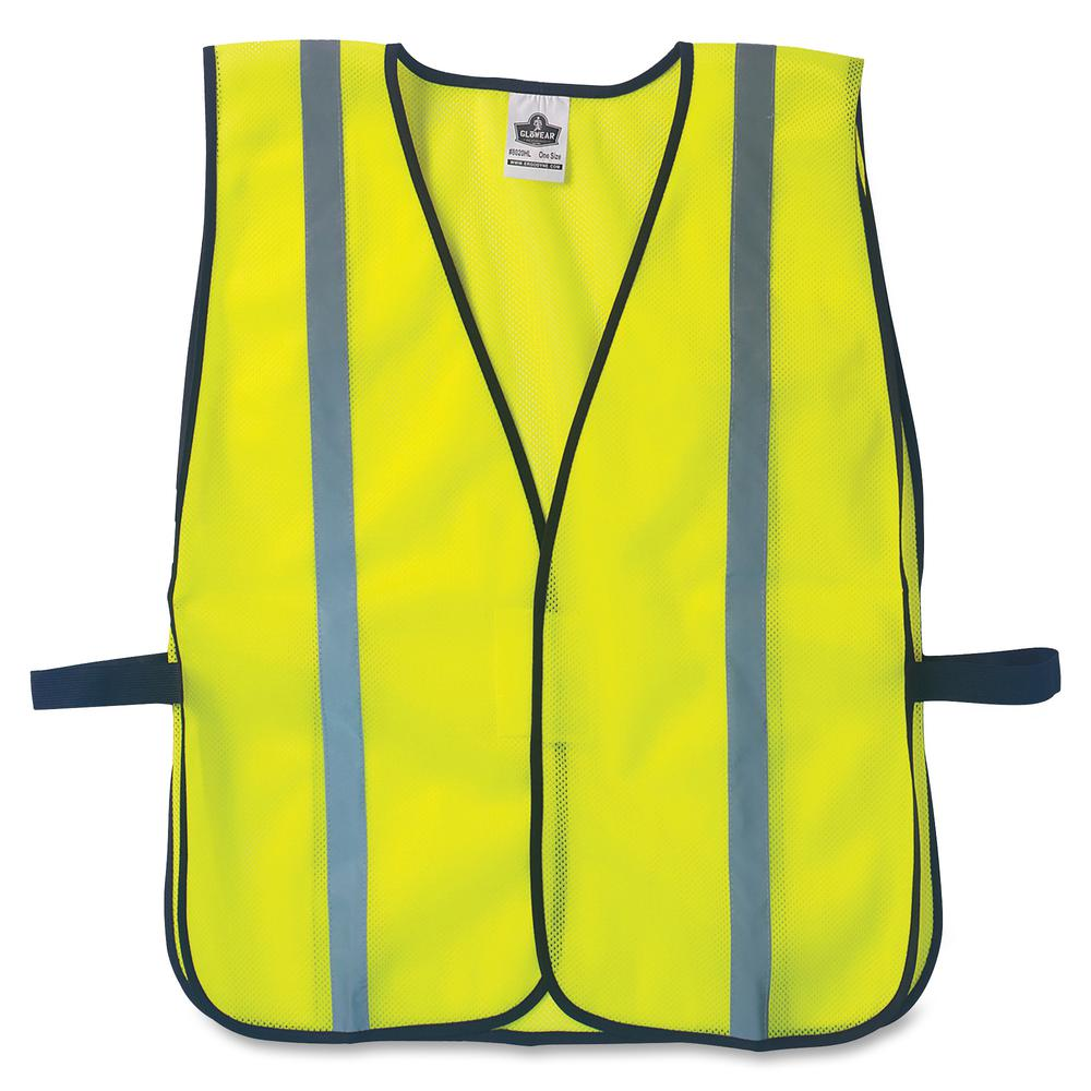 GloWear Lime Standard Vest - High Visibility, Comfortable, Machine Washable, Reusable, Breathable, Hook & Loop Closure, Reflective - Standard Size - Fabric, Polyester Mesh - Lime - 1 / Each