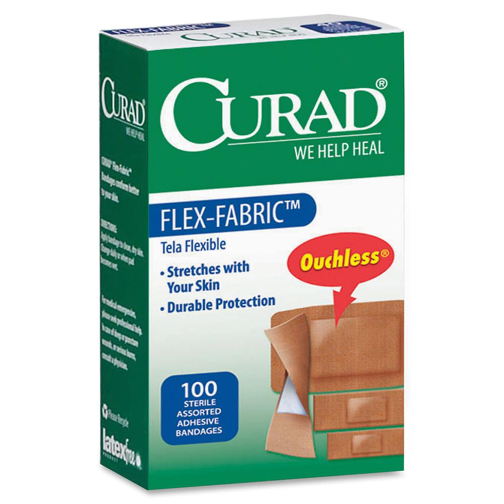 Curad Flex-Fabric Bandages - 100/Box - Tan - Fabric. Picture 3