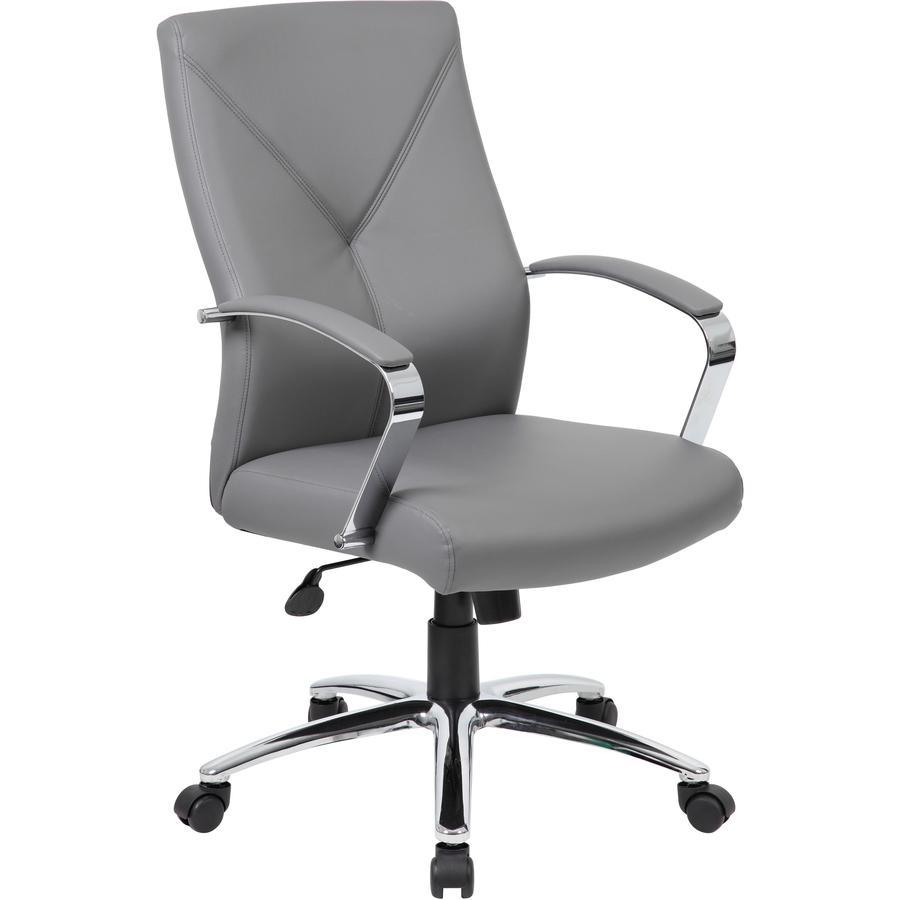 Boss B10101 Executive Chair - Gray LeatherPlus Seat - Gray Leather, Polyurethane Back - Chrome, Black Chrome Frame - 5-star Base - 1 Each. Picture 2