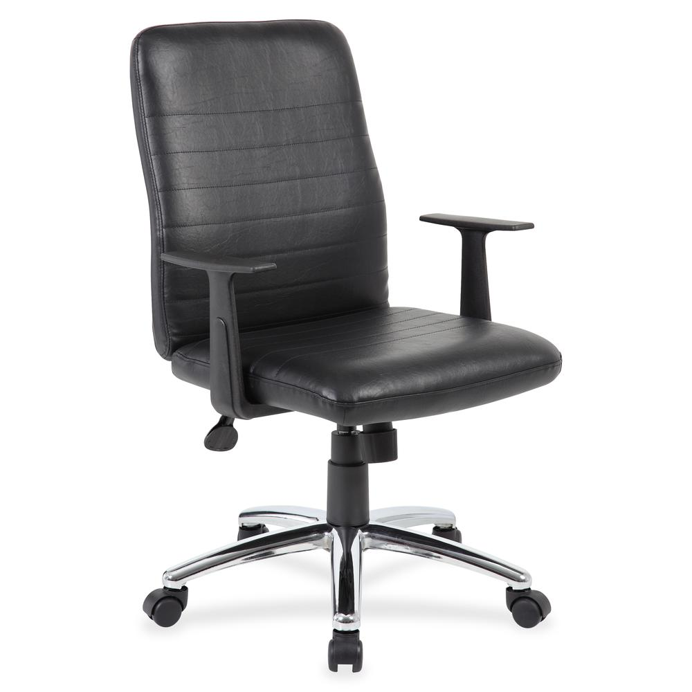 Boss B431-BK Retro Task Chair with Black T-Arms - Black Vinyl Seat - Black Vinyl Back - Chrome, Black Chrome Frame - 5-star Base - 1 Each. Picture 5