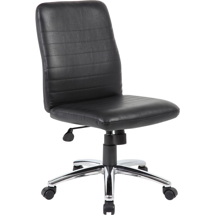 Boss B430 Task Chair - Black Vinyl Seat - Black Vinyl Back - Chrome, Black Chrome Frame - 5-star Base - 1 Each. Picture 4