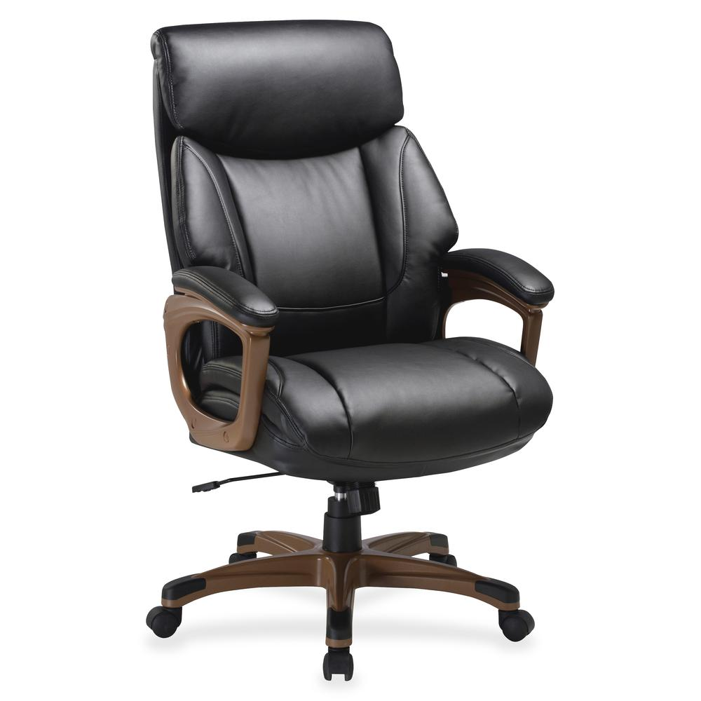 """Lorell Executive Chair - Black, Walnut - Bonded Leather - 31.8"""" Width x 28"""" Depth x 45.5"""" Height - 1 Each. Picture 2"""