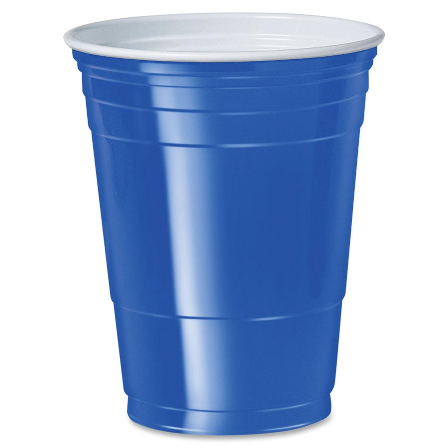Solo Cup 16 oz. Plastic Cold Party Cups - 16 fl oz - 50 / Pack - Blue - Polystyrene, Plastic - Party, Cold Drink. Picture 2