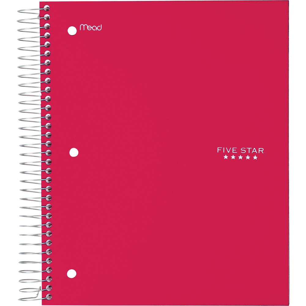 Rediform office products subject wirebound notebook wide - Five Star Wide Rule 5 Subject Notebook 200 Sheets Printed Wire Bound Wide Ruled 3 Hole S 9 50 X 10 50 Red Cover Plastic Cover 1each