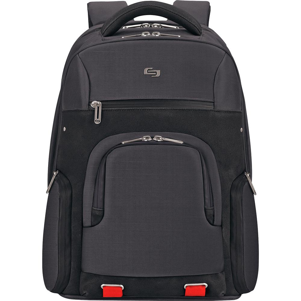 """Solo Aegis Carrying Case (Backpack) for 15.6"""" Notebook - Black, Red - Bump Resistant Interior, Scratch Resistant Interior - Handle, Shoulder Strap - 19.5"""" Height x 14.5"""" Width x 8"""" Depth. Picture 2"""