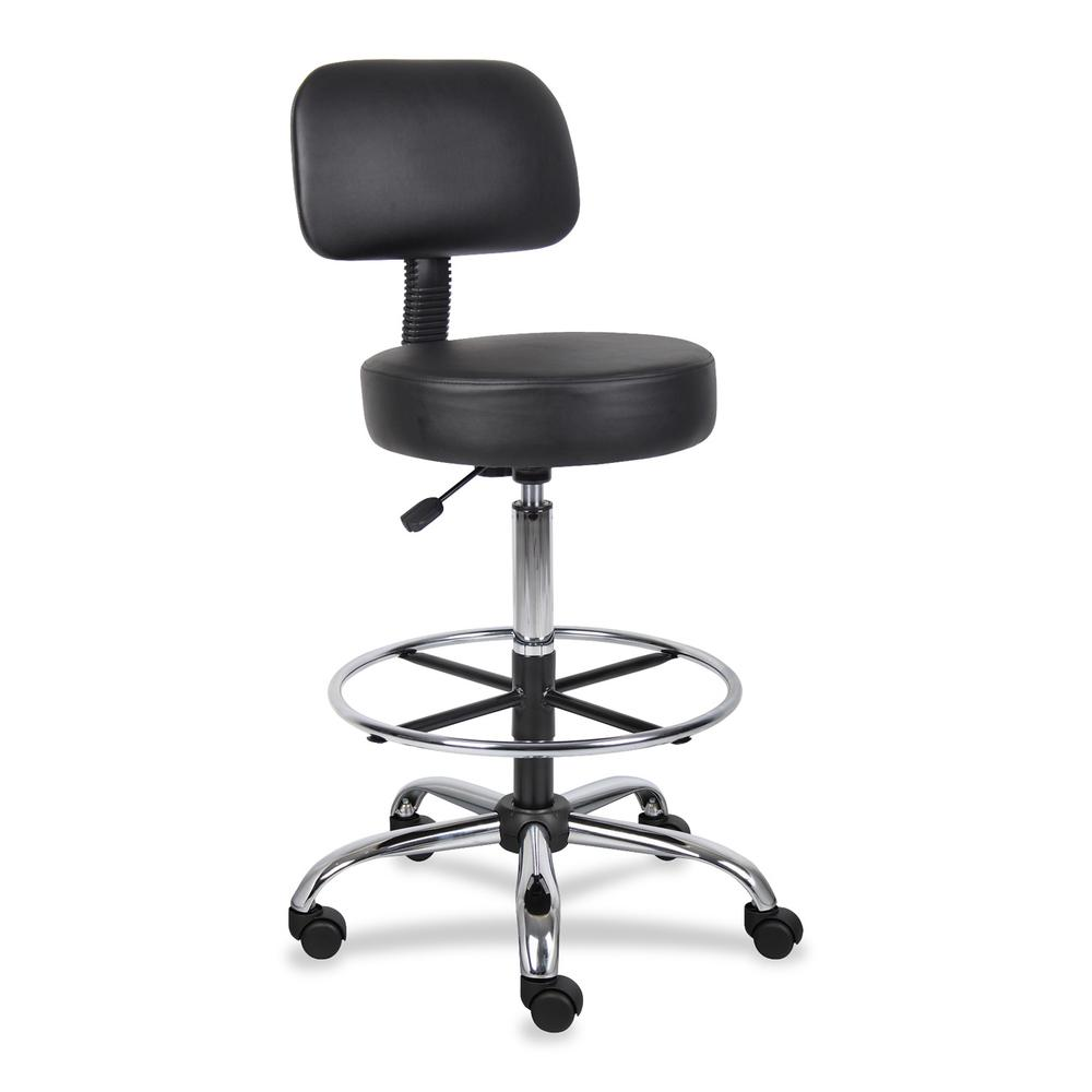 "Boss Drafting Stool - Black Vinyl Seat - Black Back - Chrome, Black Chrome Frame - 5-star Base - 16"" Seat Width x 16"" Seat Depth - 25"" Width x 25"" Depth x 47"" Height - 1 Each. Picture 2"