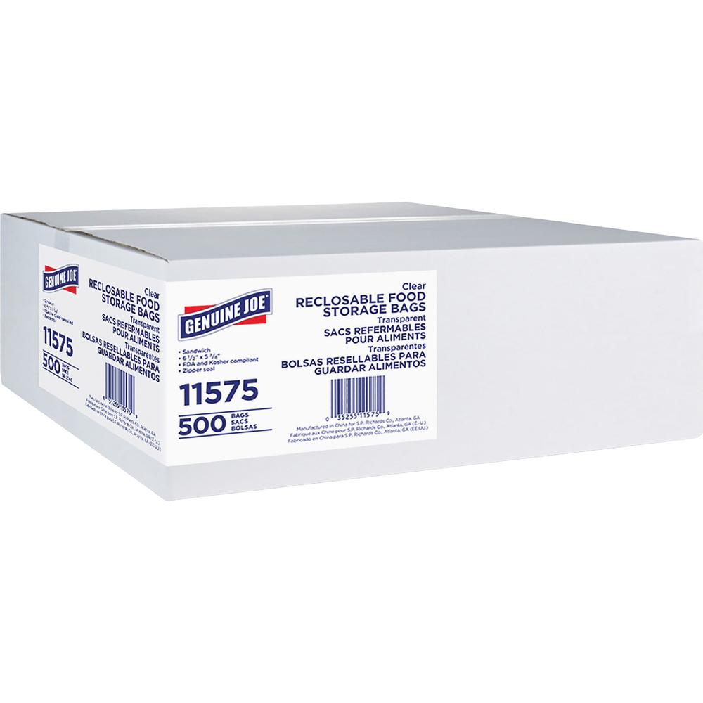 Genuine Joe Food Storage Bags - 1.15 mil (29 Micron) Thickness - Clear - 500/Box - Food, Beef, Poultry, Seafood, Vegetables