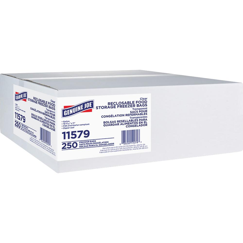 Genuine Joe Freezer Storage Bags - 1 gal - 2.70 mil (69 Micron) Thickness - Clear - 250/Box - Beef, Poultry, Vegetables, Seafood, Food. Picture 2