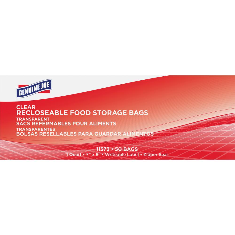Genuine Joe Food Storage Bags - 1 quart - 1.75 mil (44