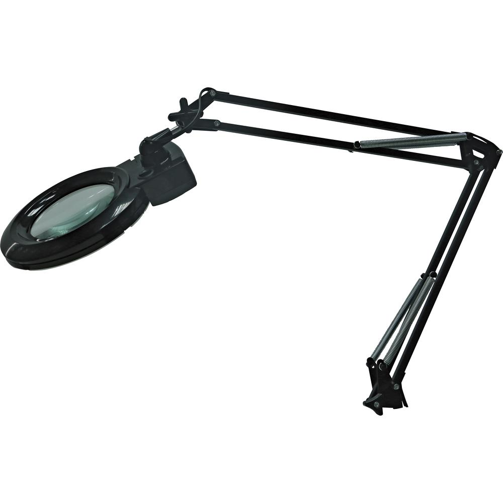 """Lorell 9.4-watt LED Magnifying Lamp - 35"""" Height - 3.5"""" Width - 9.40 W LED Bulb - Glass, Metal - Black. Picture 2"""