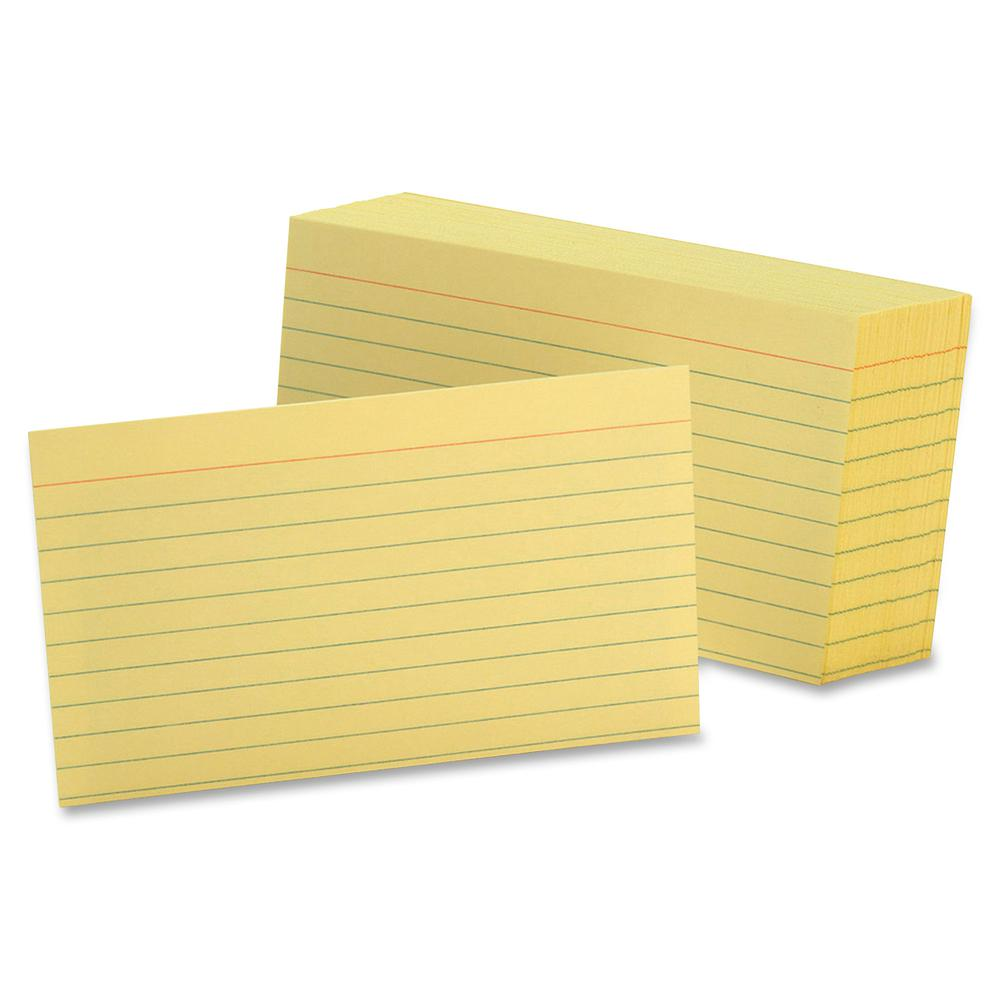 "Oxford Colored Ruled Index Cards - Front Ruling Surface - Ruled - 90 lb Basis Weight - 3"" x 5"" - Canary Paper - 100 / Pack. Picture 2"